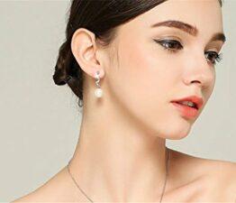 Damen Ohrhänger Lange Ohrringe 925 Silber Ohrringe Perlen Mode Ohrschmuck