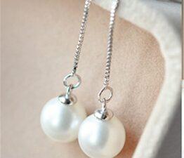 Damen Ohrhänger Lange Ohrringe 925 Silber Ohrringe Perlen Ohrschmuck