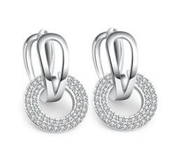 Damen Creolen Ohrringe 925 Sterling Silber Ohrschmuck Braut Ohrringe