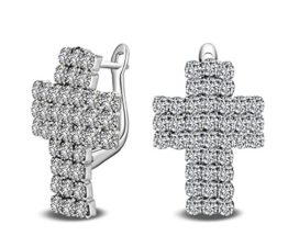 Mode Kreuz Creolen 925 Sterling Silber Zirkonia Ohrschmuck Ohrringe für Frauen Mädchen Geburtstag Geschenke (Weiss)
