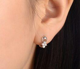 Damen-Creolen Klassik Blumen Zirkon Ohrringe 925 Sterling Silber Ohrschmuck