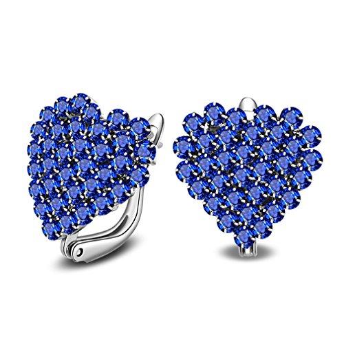 Mode Creolen Zirkonia Ohrschmuck HerzOhrringe aus 925 Sterling Silber Geschenke für Kinder Mädchen (Blau)
