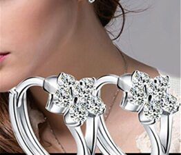 Frauen Creolen Blumen Kleine Creolen Zirkonia Ohrschmuck 925 Sterling Silber