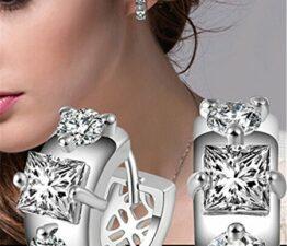Creolen Hohl Ohrstecker Zirkonia Ohrschmuck 925 Sterling Silber Creolen für Fraue