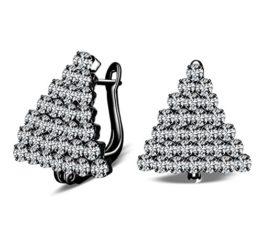 Damen Mädchen Creolen 925 Sterling Silber Kristallen Tannenbaum Elegant Ohrschmuck Ohrringe Ohrstecker für Bankett (Weiss)