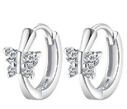 Damen 925 Sterling Silber Schmetterling Ohrringe Creolen mit Zirkon Ohrstecker weiblichen nette Ohrschmuck