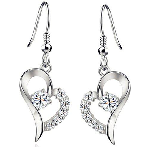 Damen Schmuck Ohrhänger Ohrring Ohrstecker Ohrschmuck Herzform voll Diamant-Ohrringe