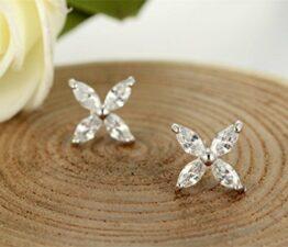 Damen Schmuck Clover Ohrring Blumen Zirkon Ohrstecker Ohrringe Ohrschmuck aus 925 Sterling Silber
