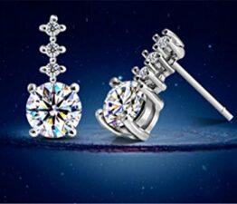 Damen Ohrringe Ohrstecker Schmuck 925 Sterling Silber Klar Kristall Kuge Bling Elegant Ohrschmuck
