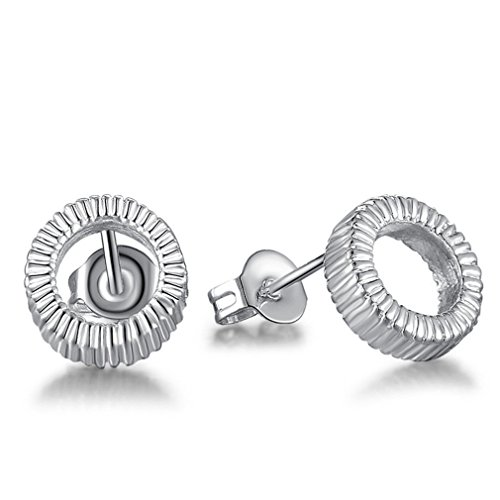 Damen Mode Ohrringe Runden Ohrstecker 925 Sterling Silber