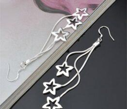 Damen-Ohrhänger 925 Sterling Silber Ohrringe Ohrstecker Sterne