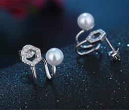 Frauen Schmuck 925 Sterling Silber Perlen Ohrringe Ohrstecker