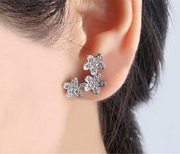 Frauen Schmuck 925 Sterling Silber Kristall Blumen Ohrringe Ohrstecker