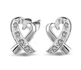 Ohrringe Damen Mädchen 925 Sterling Silber unregelmäßig Herz mit Diamant ohrstecker