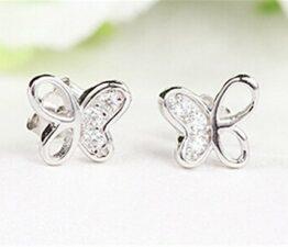 Damen-Ohrringe Ohrstecker Hypoallergen Schmetterling 925 Sterling Silber