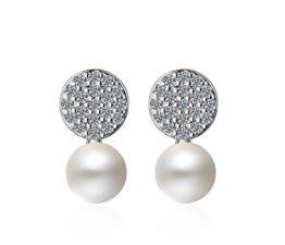 Ohrstecker Damen mädchen 925er Sterling Sliber mit Bling-Zirkonia Runde Stil Perlen Einfache Ohrringe