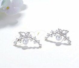 1 Paar Ohrstecker Damen mädchen 925er Sterling Sliber mit Glitter-Zirkonia Schmetterling Edel Perle antiallergische Einfachheit Stern Ohrringe