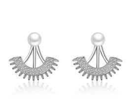 Front-Back-Ohrringe Damen mädchen 925er Sterling Sliber mit Bling-Zirkonia et Perlen Edel Sonne Blumen Ohrstecker