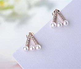 Ohrstecker Damen mädchen 925er Sterling Sliber mit Bling-Zirkonia Süße Dreieck-Bolzen-Perle Ohrringe