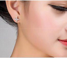 Damen 925 Sterling Silber Diamant Ohrringe Ohrring Ohrstecker Schmuck Geschenk für Frauen