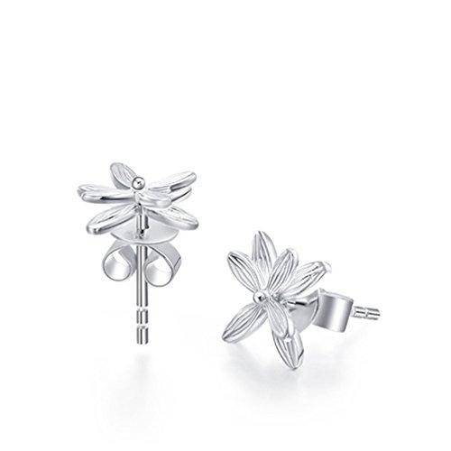 Damen 925 Sterling Silber Blumen Ohrringe Ohrring Ohrstecker Schmuck