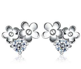 Damen Ohrringe Ohrstecker Schmuck 925 Sterling Silber Blumen Kristall Ohrringe Geschenk für Kinder Mädchen