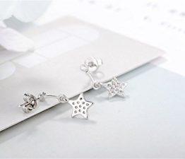 1 Paar Ohrstecker Damen Mädchen 925er Sterling Sliber mit Bling-Zirkonia Antiallergische Einfachheit Stern Ohrhänger