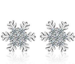 Ohrstecker Damen mädchen 925er Sterling Sliber mit Bling-Zirkonia schneeflocke Blumen Allergiker Elegante Ohrringe als Weihnachten Geschenke