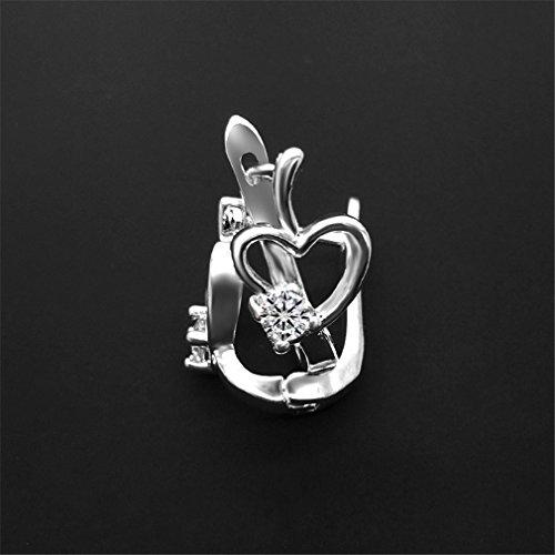 Damen Creolen 925 Sterling Silber Herz Liebe Diamant OhrringeOhrstecker