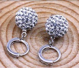 Damen Creolen Ohrhänger Ohrstecker Glänzend Kristall 925 Sterling Silber