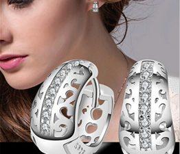 Damen Ohrringe Ohrstecker Creolen Mode Schmuck Flash-Diamant Creolen aus 925 Silber