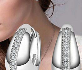Damen Creolen Ohrring Ohrstecker Kristalle 925 Silbern Geschenk für Kinder