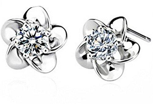 Ohrringe Damen Maedchen 925 Sterling Silber Edel Ohtstecker Plum Blume mit Zirkonia Hypoallergen Ohrstecker