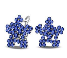 Damen Kristall Schneeflocke Ohrstecker Stern Seesterne 925 Sterling SilberOhrringe Creolen (Blau)