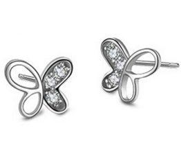 Ohrringe Damen Maedchen 925 Sterling Silber Edel Ohtstecker Klein Schmetterling mit Diamant Ohrstecker