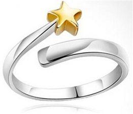 Ringe Damen Eheringe Nagelring 925er Silber Goldet Sterne Ringöffnung Knöchel Ringe Verstellbare