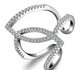 Ringe Damen Eheringe Nagelring 925er Silber Hohle Zirkonia Cross Dople Teile Breit Mode Knöchel Ringe Freundschaftsringe Verstellbare