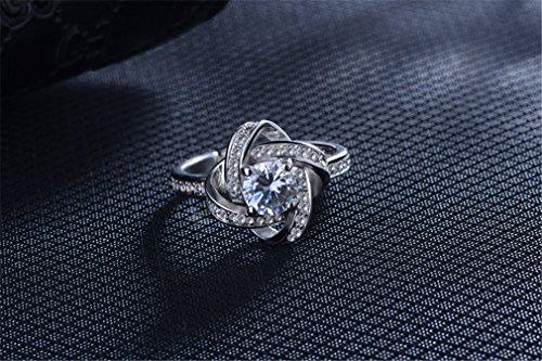 Damen Ringe Öffnung Verstellbar 925er Sterling Silber mit Zirkonia Partnerschaftsringe Trauringe Ewige Liebe Cross Verlobungsring