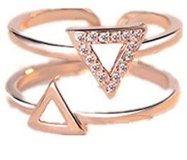 Damen Ringe Öffnung Verstellbar 925er Sterling Silber mit Zirkonia Dopple Dreieck Rosegold Partnerschaftsringe Trauringe Verlobungsringe (Golden)