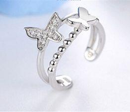 Damen Ringe Öffnung Dopple Hypo-allergene Schmetterling Verstellbar 925er Sterling Silber Süße Partnerschaftsringe