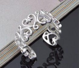 Ringe Damen Verstellbare Eheringe Nagelring 925er Sterling Silber Hohle Herz Knöchel Ringe als Valentinstag