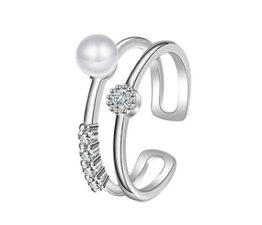 Damen Ringe Öffnung Personality Dopple Perlenring Verstellbar 925er Sterling Silber Trauringe Verlobungsringe