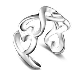 Ringe Damen Eheringe Nagelring 925er Silber Hohle 8-Herz Form Knöchel Ringe Freundschaftsringe Verstellbare