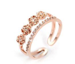 Damen Ringe Öffnung Dopple Rose Blumen mit Diamant Perlenring Verstellbar 925er Sterling Silber Trauringe Verlobungsringe Rose Gold (Gold)