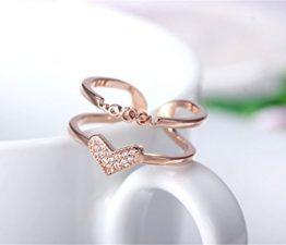 Damen Ringe Öffnung Personality Dopple Allergie LOVE Herz Verstellbar 925er Sterling Silber Rosegold Schwanz Ring
