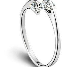 Damen Frauen Ringe Öffnung Dopple Zirkonia Ehe- Verlobungs- & Partnerringe Verstellbar 925er Sterling Silber Einfache Stil Trauringe