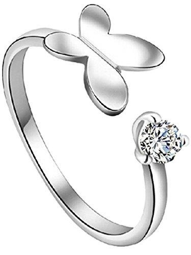 Damen Ringe Öffnung Schmetterling mit Zirkonia Verstellbar 925er Sterling Silber Schwanz Ring Nette Stil