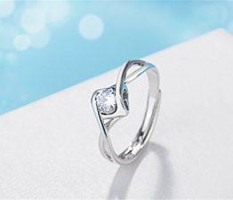 Damen Ringe Verstellbar 925er Sterling Silber mit AAA Zirkonia Hohle Herz Partnerschaftsringe Hochzeit Trauringe Eheringe
