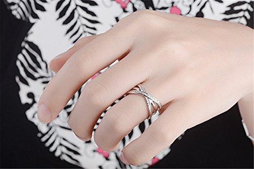 Damen Ringe 925er Sterling Silber mit AAA Zirkonia Doppel Linie Cross Einfache Zeigefinger Ring Partnerschaftsringe Öffnung Verstellbar