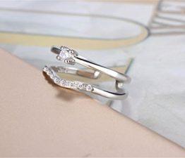 Damen Ringe Öffnung Dopple mit Zirkonia Perlenring Verstellbar 925er Sterling Silber Stapelringe Schwanz Ring